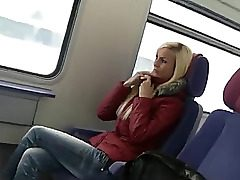 ultra-cute german lady lovemaking on public transport