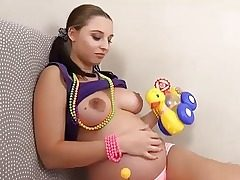 Pregnant Alyssa Pokes Herself with Childrens Fucktoys