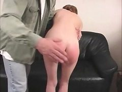 Skinny Zoe can't pay her rent and he slaps her little ass red