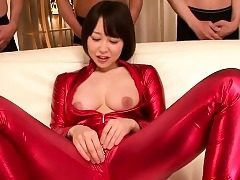 asian body-suit cosplay babe deep throating boner