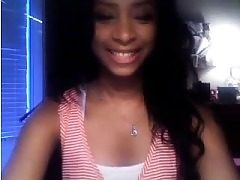 Stunning Black Teen Playing on Webcam with Me