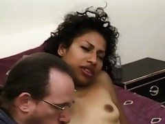 Unexperienced ebony babe facialized during groupsex