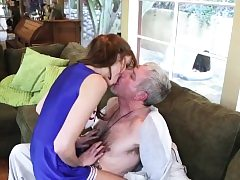 Teen babe romps old fellow