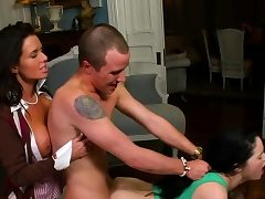 Lustful mum has enjoyment with boy whilst stepdaughter watches