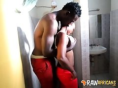 Real African amateur slut rest room pulverize