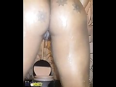 Meaty ass bbw in shower on cam