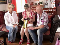 He finds his hotwife teen girlfriend fucking with old parents