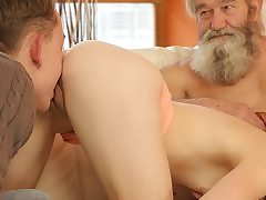 Dame's clean-shaven snatch is finger-tickled by aged fellow and son-in-law in turn