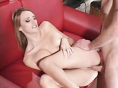 Young big-titted blonde receives firm cock in caboose