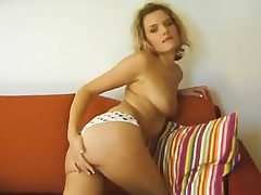 Czech platinum-blonde curly haired girl demonstrates her body