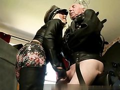 Horny Nazi dame is slapping this old dude's butt with a sex stick hard