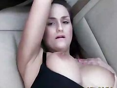 Sexy babe boned by a cock on the back seat of the car hard