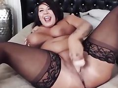 Bodacious hottie with monstrous clapping breast plays with a monstrous fake penis