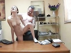 Skinny whore gets slammed on the office table and sucks cock