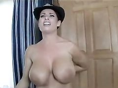 Warm police female stripping nude uncovering her incredible boobies on cam